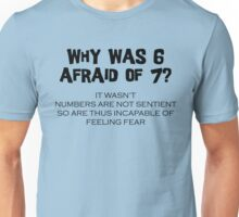 Why Was 6 Afraid of 7 Unisex T-Shirt