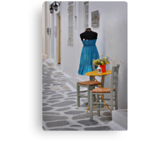 Table, Chairs and Dress Canvas Print