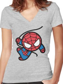 Crazy spider man Women's Fitted V-Neck T-Shirt
