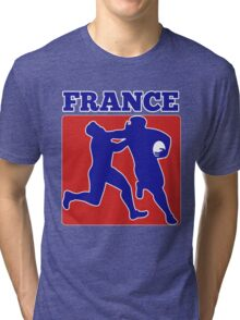 France rugby player running tackling with ball Tri-blend T-Shirt