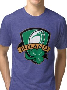 rugby ball with shamrock clover leaf inside shield Tri-blend T-Shirt