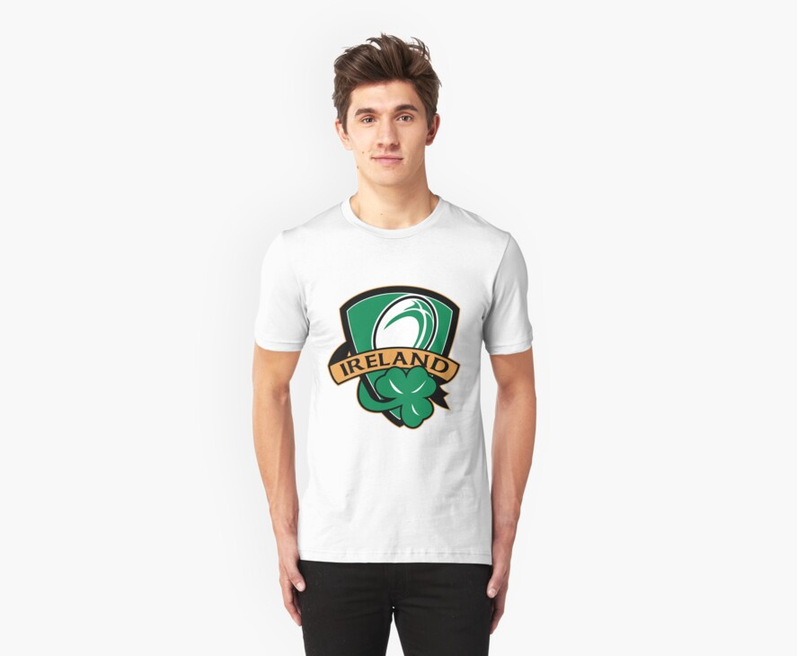 rugby ball with shamrock clover leaf inside shield by patrimonio