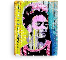 Frida Kahlo - Mixed Media with Newspaper Canvas Print