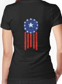 Old World American Flag Women's Fitted V-Neck T-Shirt