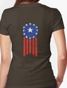 Old World American Flag Womens Fitted T-Shirt