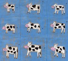 Nine happy cows. by Tine  Wiggens