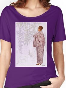 Victorian Lavender Kimono Floral Lady Women's Relaxed Fit T-Shirt