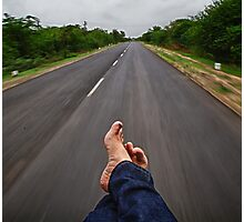 Relaxing in the back of an Autorickshaw, Kutch, Gujarat Photographic Print