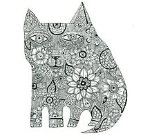 Cat black and white henna pen and ink drawing Photographic Print