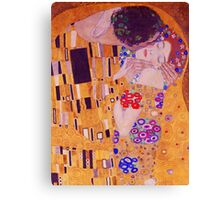 The Kiss - Gustav Klimt - Blue Highlights Canvas Print
