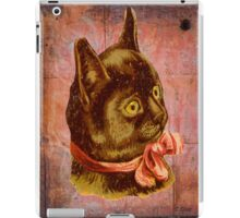 Victorian Vintage Coral Bow Brown Cat iPad Case/Skin