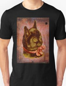 Victorian Vintage Coral Bow Brown Cat T-Shirt