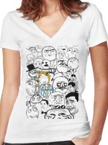 Meme compilation Women's Fitted V-Neck T-Shirt
