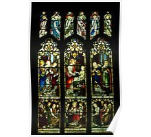 Stained glass window in English parish church Poster