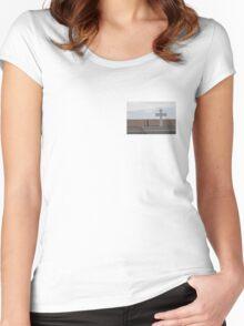 White Cross, Blue Sky Women's Fitted Scoop T-Shirt