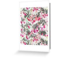Rainbow Fuchsia Floral Pattern - with grey Greeting Card