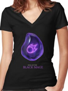 Soul of the Black Mage -black Women's Fitted V-Neck T-Shirt