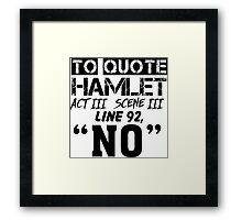 Hamlet - William Shakespeare's play Framed Print
