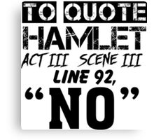 Hamlet - William Shakespeare's play Canvas Print