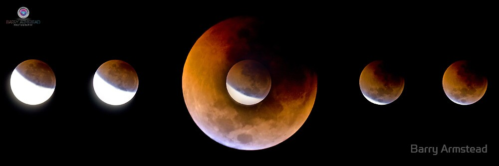 Lunar Eclipse Phases - June 2011 by Barry Armstead