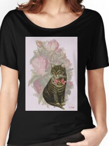 Victorian Floral Pink Rose Vintage Cat  Women's Relaxed Fit T-Shirt