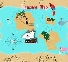 Pirates Secret Hidden Treasure Themed Map by Artification