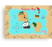 Pirates Secret Hidden Treasure Themed Map Canvas Print