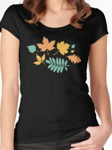 Black and Pastel Leaves Pattern Women's Fitted Scoop T-Shirt