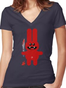 RABBIT 2  (Cute pet with a sharp knife!) Women's Fitted V-Neck T-Shirt