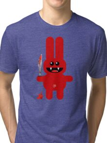 RABBIT 2  (Cute pet with a sharp knife!) Tri-blend T-Shirt