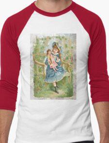 Victorian Girl Blue Dress Doll Men's Baseball ¾ T-Shirt