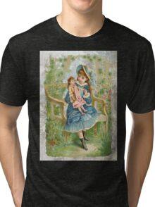 Victorian Girl Blue Dress Doll Tri-blend T-Shirt