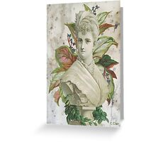 Victorian Lady White Statue Bust Green Plants Greeting Card
