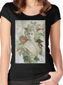 Victorian Lady White Statue Bust Green Plants Women's Fitted Scoop T-Shirt