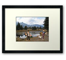 No you idiot!!  I said we need to find a duck blind!! Framed Print