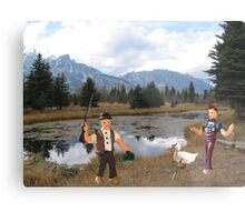 No you idiot!!  I said we need to find a duck blind!! Metal Print