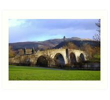 Stirling old bridge with Wallace monument in background Art Print