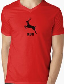 Antelope Black Mens V-Neck T-Shirt