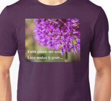 Faith and Love...Purple Allium Unisex T-Shirt