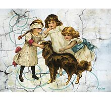 Victorian Children Playing Hide Seek With Dog Photographic Print