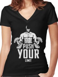 Roronoa Zoro Train Hard And Push Your Limit  Women's Fitted V-Neck T-Shirt