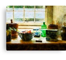 Bowl of Vegetables and Green Bottle Canvas Print