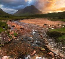 Buachaille Etive Beag at Sunset. River Coupall. Glen Coe. North West Highlands. Scotland. by photosecosse /barbara jones