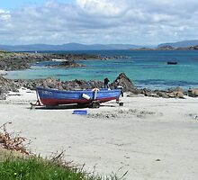 White sand beach, Iona, Scotland by John Butterfield