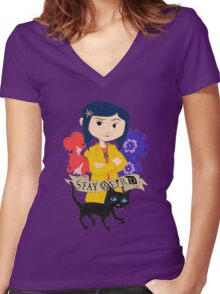 Stay Weird with Coraline Women's Fitted V-Neck T-Shirt