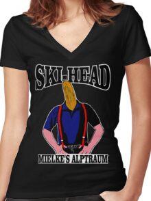 Ski-Head – Mielkes Alptraum Women's Fitted V-Neck T-Shirt