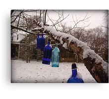 Blue Bottles Pointing Home Canvas Print