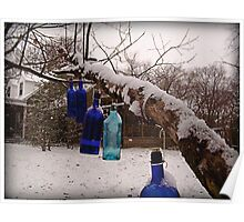 Blue Bottles Pointing Home Poster