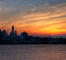 Philadelphia Skyline at Sunset by Michael Mill