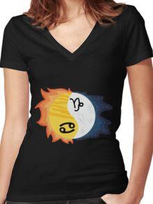 Cancer Sun, Capricorn Moon Women's Fitted V-Neck T-Shirt